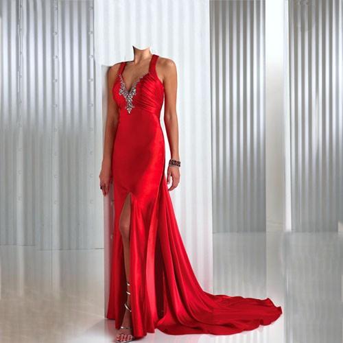 Шаблон для фото - прекрасное красное платье