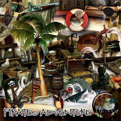 Детский скрап-набор для мальчиков - Приключения пиратов