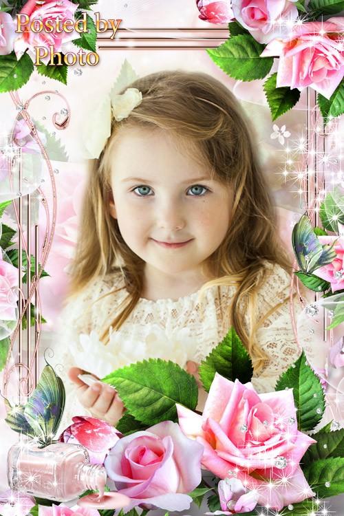 Цветочная рамка для фото - Розовые розы, как рассвет