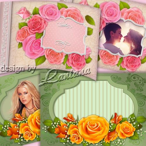 PSD исходники - Поздравительные открытки-рамки с розами