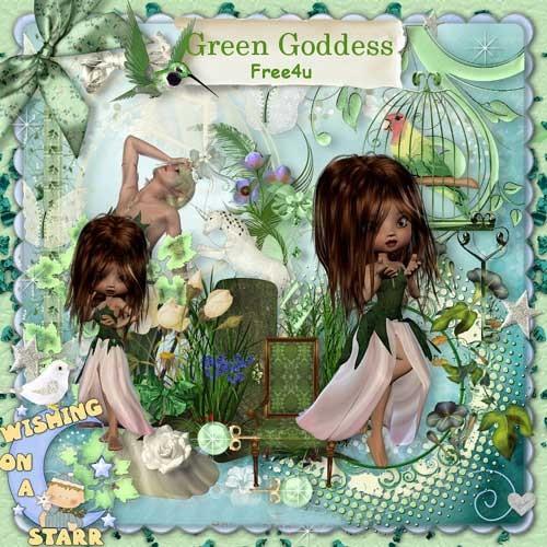 Интересный завораживающий скрап-набор - Зеленая Богиня