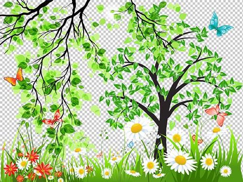 Клипарт - PSD растительность природы деревья ветки трава с цветами прозрачн ...