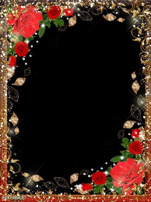 Женская рамка на  - Красные розы в золотистых орнаментах