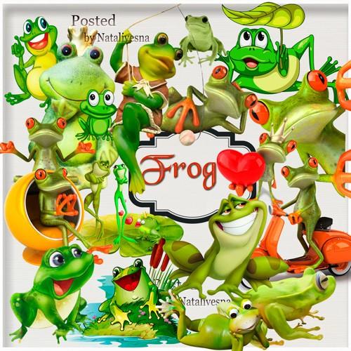 Клипарты в PNG – Зеленые лягушки
