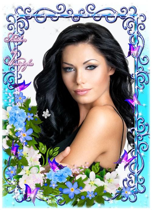 Незабудки, голубые цветы, белые цветы, бабочки - рамка для фотошопа