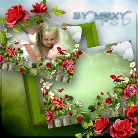 Рамка детская с клубникой для фотошоп - Детство