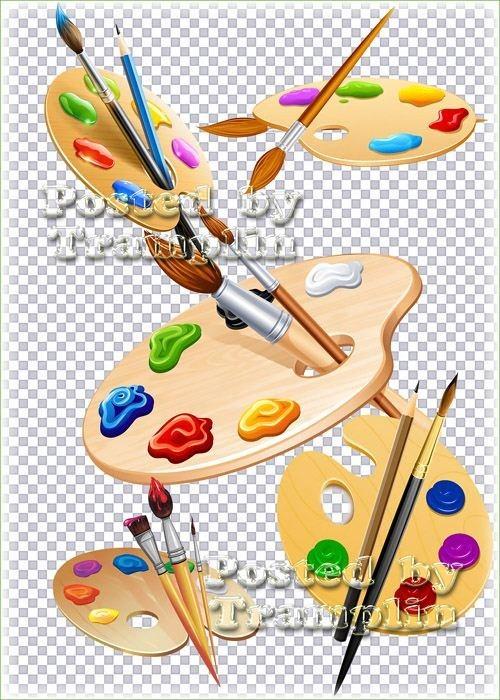 Клипарт на прозрачном фоне – Палитры с красками, кисточки для рисования