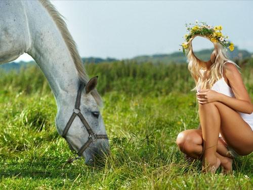 Шаблон для девушек - Рядышком с лошадкой