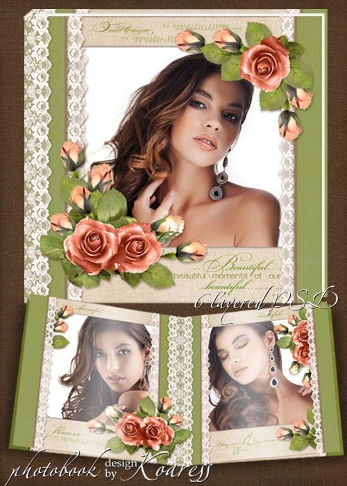 Шаблон романтической винтажной фотокниги для фотошопа - Нежные розы на круж ...