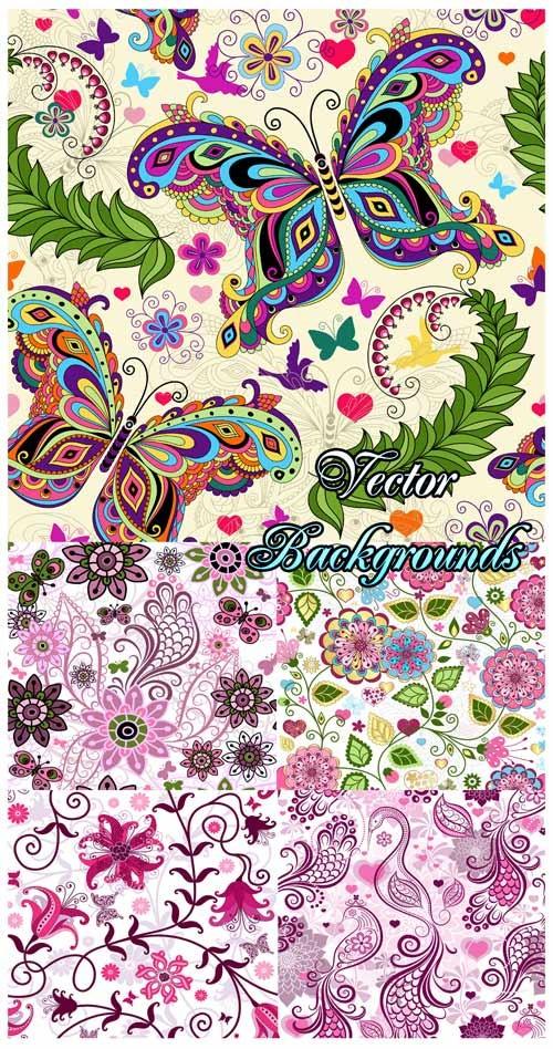 Фоны с чудесными бабочками, фоны с цветами и цветочными орнаментами - векто ...