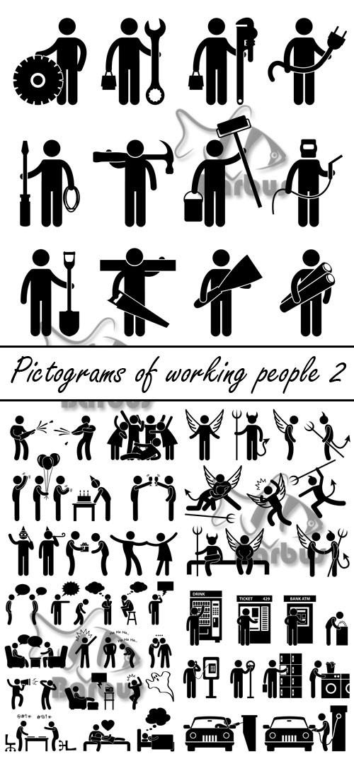 Pictograms of working people 2 / Пиктограмы работающих людей 2
