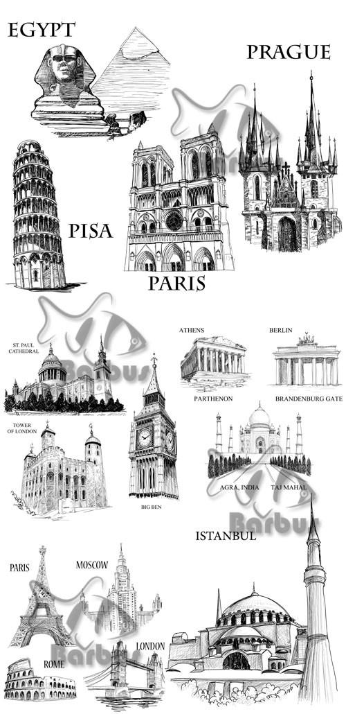 Famous buildings sketch / Рисунки знаменитых архетиктурных сооружений - Vec ...