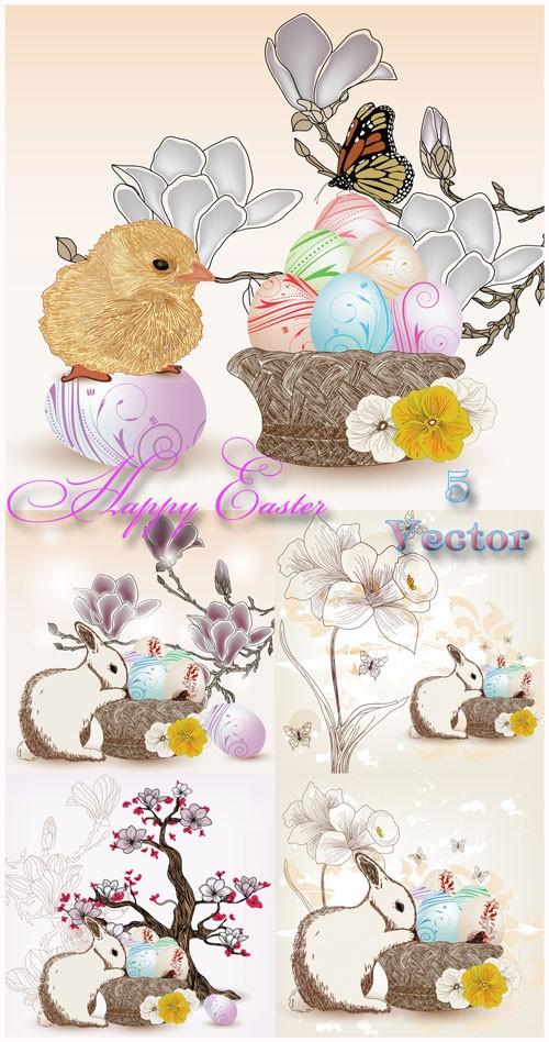 Пасха, пасхальный кролик, цыпленок, пасхальные яйца, бабочки, цветы - векторный клипарт