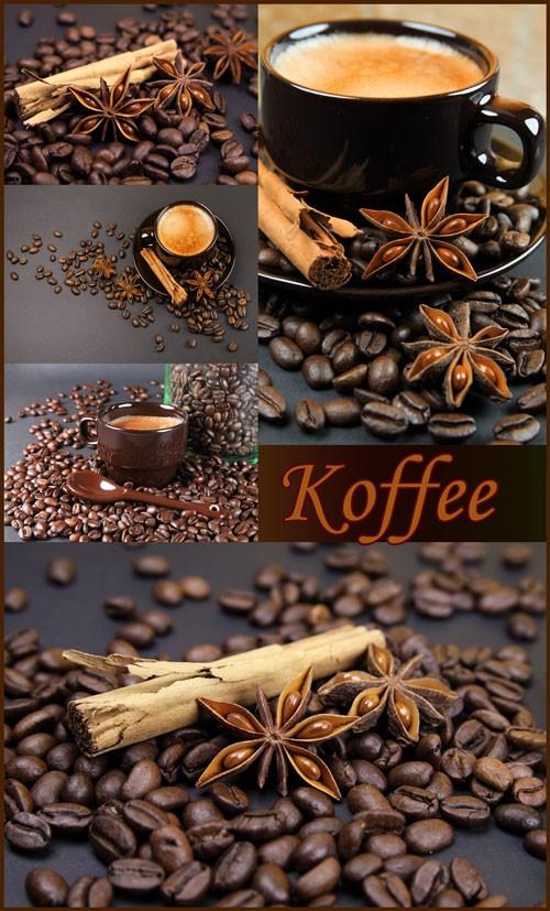 Кофе, имбирь, корица - растровый клипарт