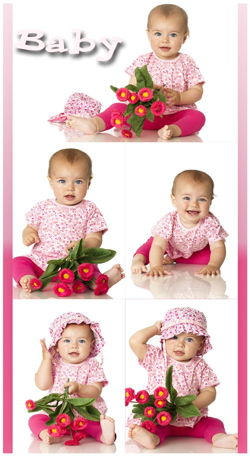 Маленький ребенок с цветочками - растровый клипарт