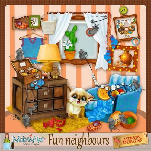 Детский нарисованный скрап-набор - Весёлые соседи