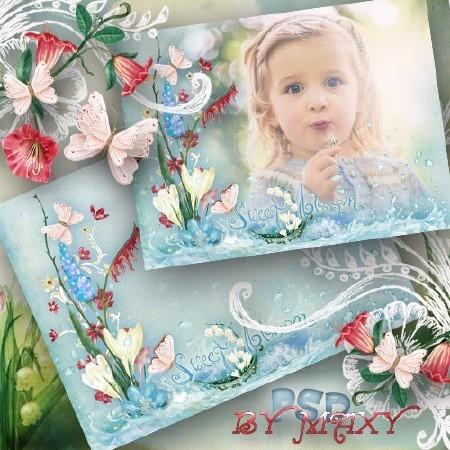 Рамка для детей на весеннюю тему с ручьем, цветами и бабочками