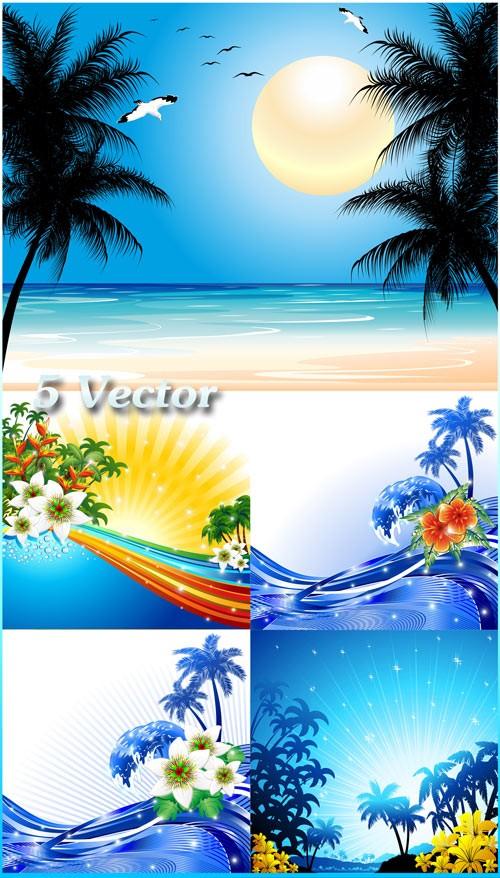 Море, пальмы, цветы - векторный клипарт