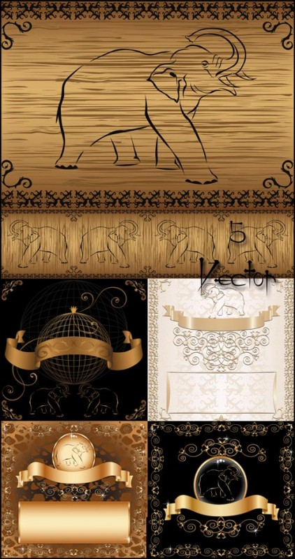 Фоны с золотым декором и слониками - векторный клипарт