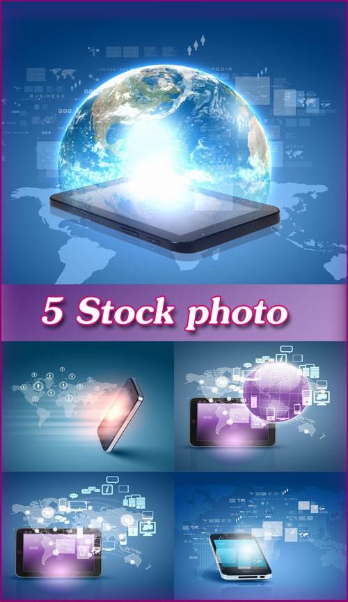 Современные технологии, смартфон, планшет, всемирная сеть интернет - растровый клипарт