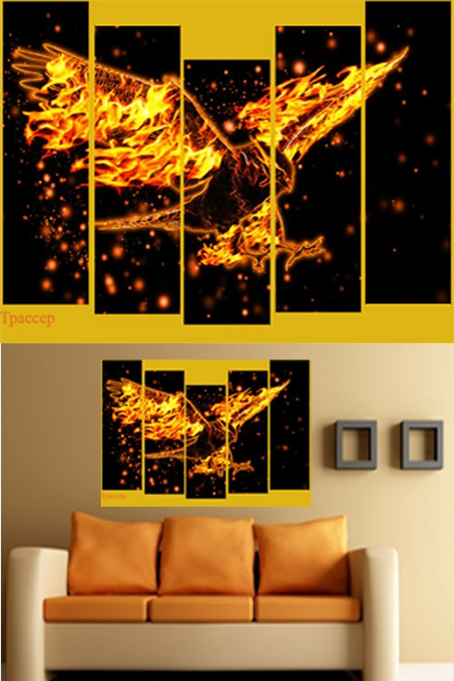 Полиптих в PSD формате - Жар-птица, магия огня