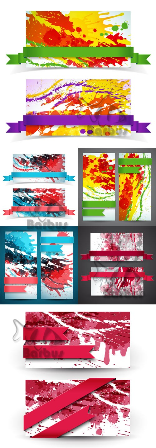 Banners with splashes of paint and tapes / Баннеры с брызгами краски и лент ...