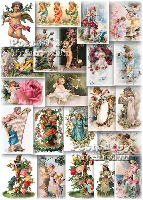 Викторианские Открытки с цветами и  изображениями Ангелочков, Эльфов и Гномов