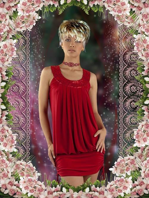 Женский шаблон для фотошопа - Девушка в красном платье