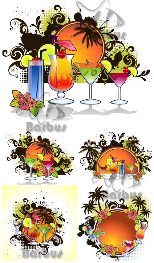 Banner - exotic cocktails, palm trees and the coming sun / Баннеры с экзоти ...