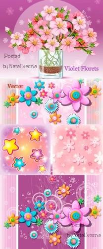 Цветочные композиции в Векторе / Vector - Flower compositions