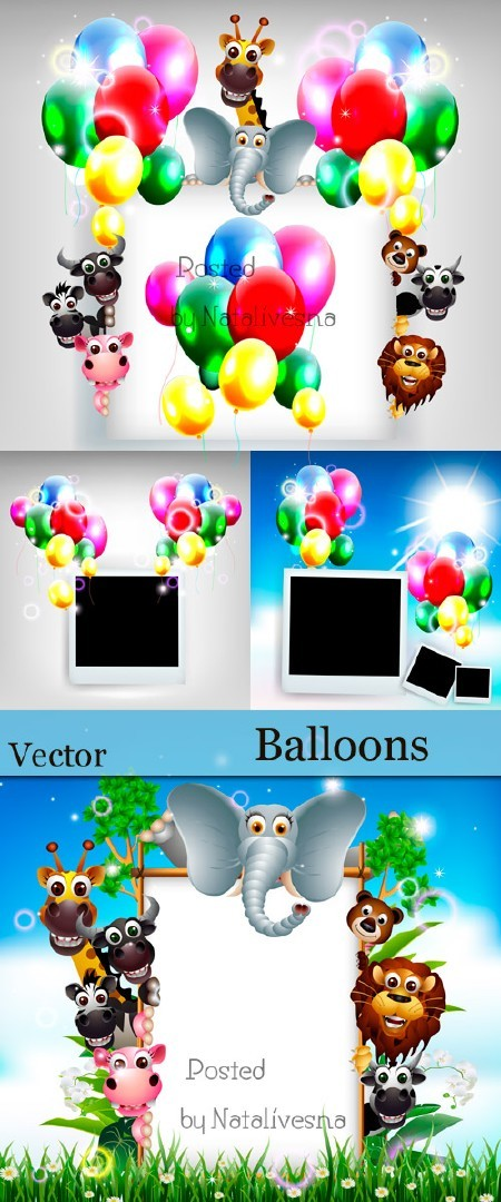 Воздушные шарики и полароид в Векторе / Vector - Balloons and Polaroid
