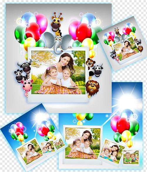 Детские фотошоп рамки с зверями и шариками