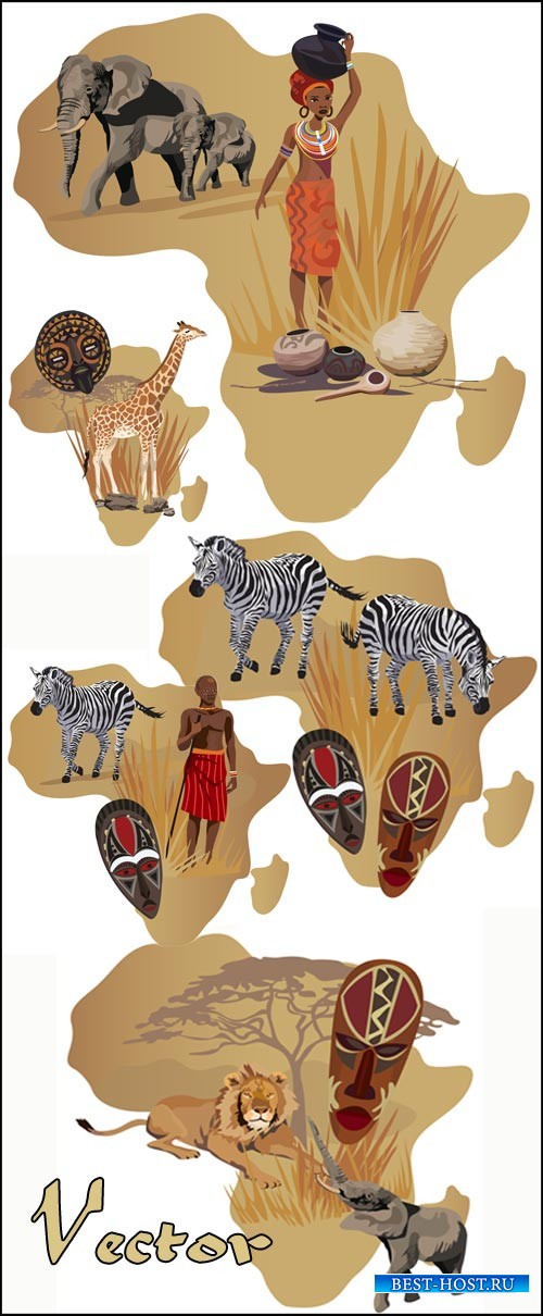 Африка, животные, жираф, слон, зебра / Africa, elephant, lion, giraffe, zeb ...