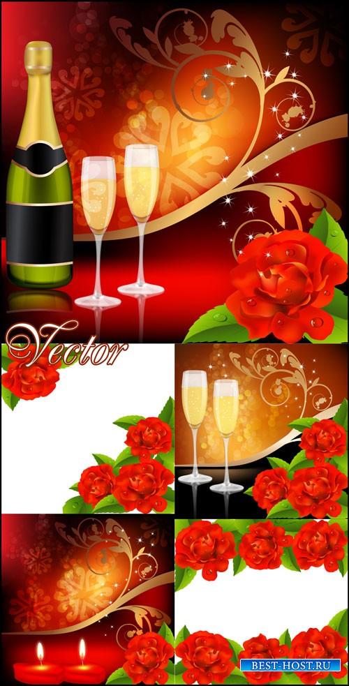 Романтические фоны, шампанское и свечи, розы / Romantic backgrounds