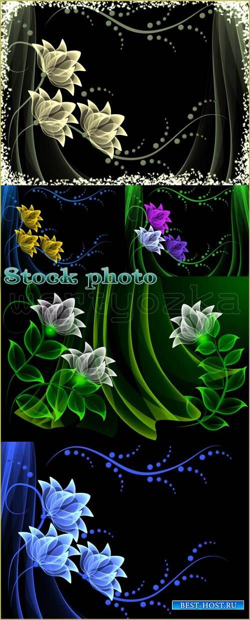 Фоны с неоновыми цветочками / Background with beautiful flowers, floral mag ...
