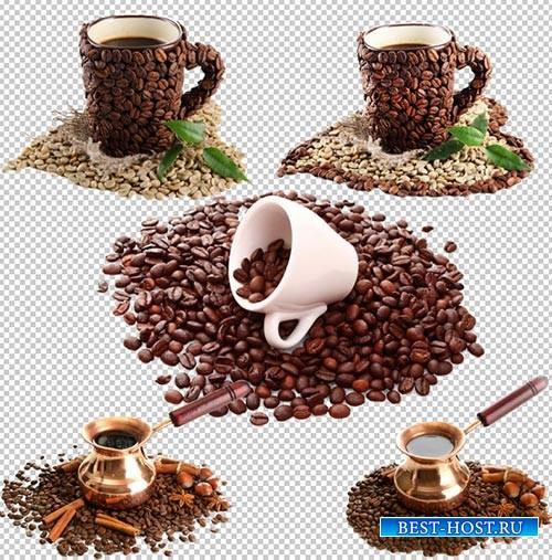 Клипарт PSD - кофейные зёрна и кружки украшенные зёрнами на прозрачном фоне
