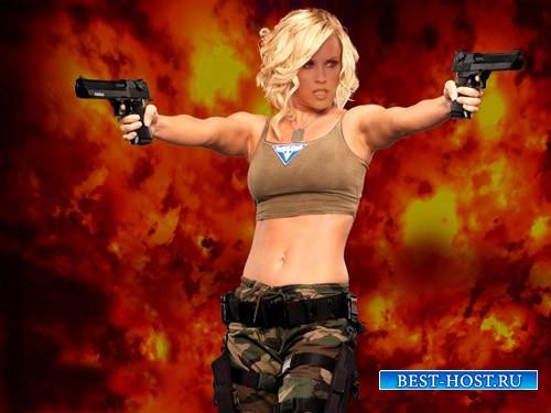 Классная блондинка в форме - шаблон psd женский