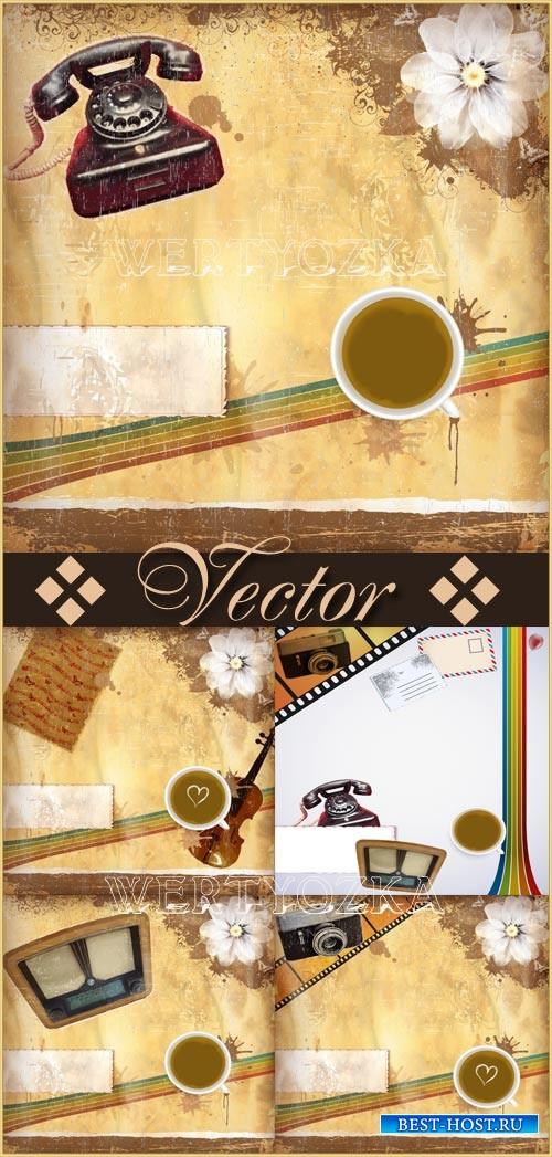 Винтажные векторные фоны с различными предметами / Vintage vector backgrounds, backgrounds with your phone