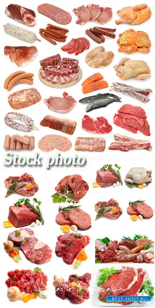 Свежее мясо, мясные продукты / Meat, meat products, sausage, chicken - Raster clipart