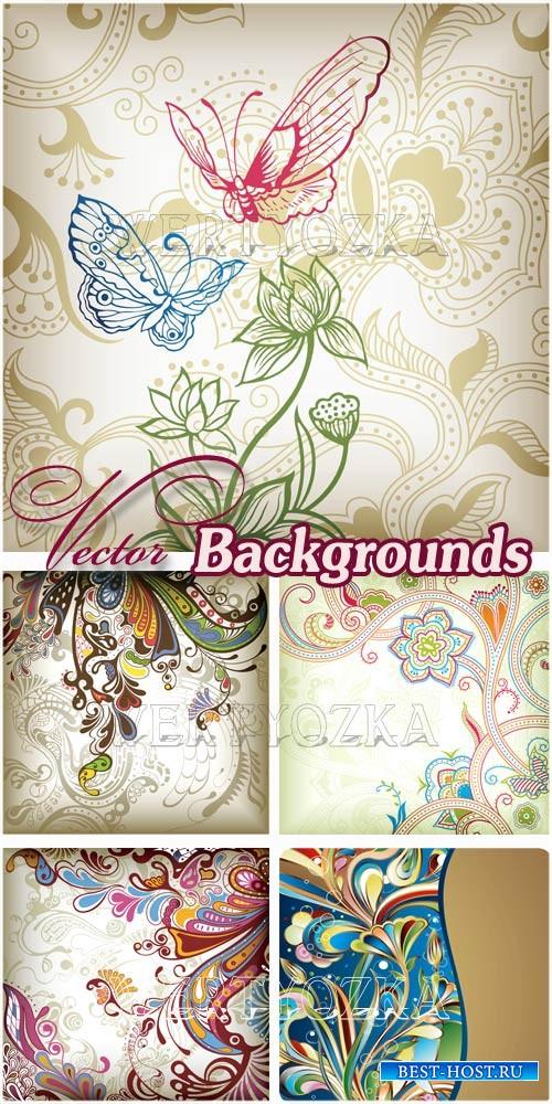 Векторные фоны с цветами и орнаментами / Backgrounds with flowers and butterflies