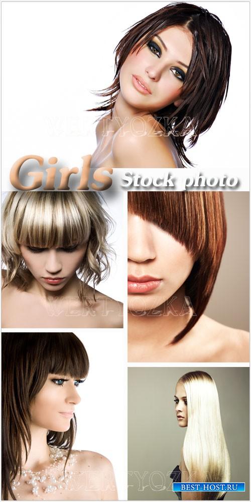 Модные девушки, стильные прически - растровый клипарт / Fashion girls, styl ...