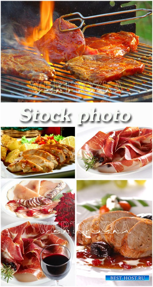 Барбекю, мясные блюда / Barbecue, meat dishes - Raster clipart