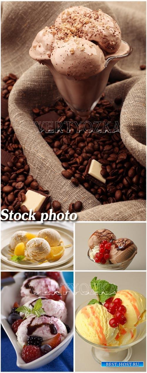 Мороженое, шоколадное, ванильное, фруктовое / Ice cream, chocolate, vanilla ...
