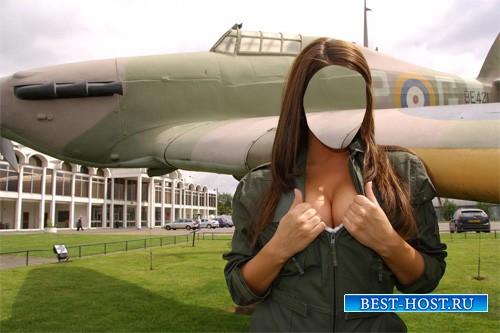 Шаблон для фотошопа - Шикарная летчица в форме у самолета