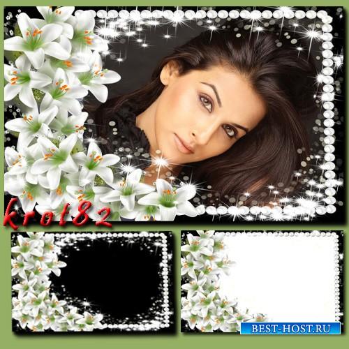 Цветочная рамка – Очарование белых лилий