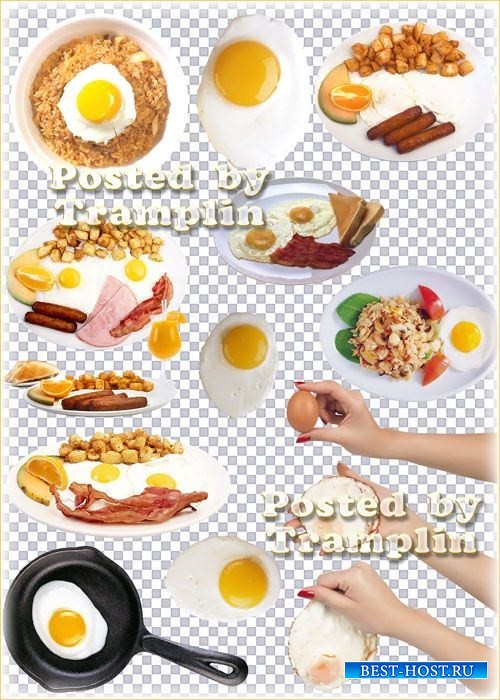 Клипарт на прозрачном фоне – Яичница и блюда с глазуньей