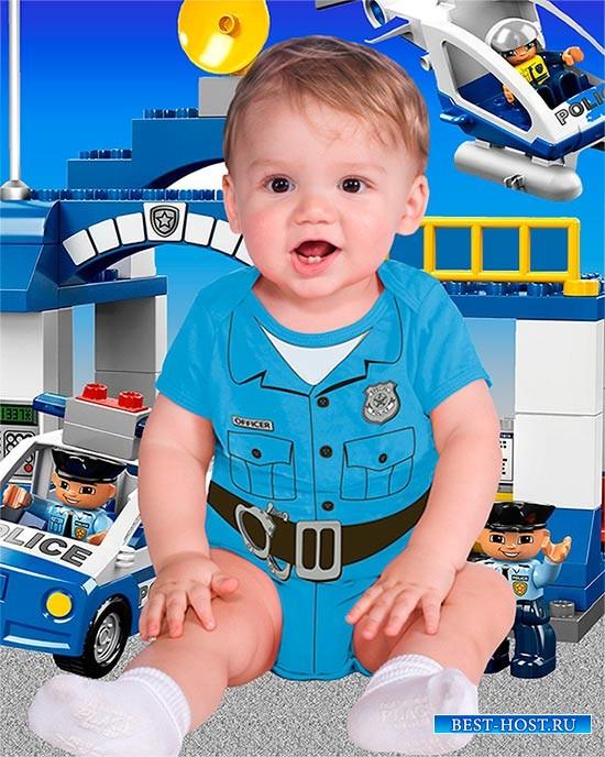 Детский фотошаблон - Я буду офицером полиции