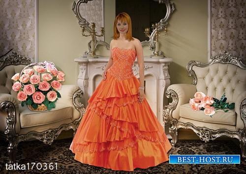 Женский шаблон для фотошопа - Девушка в оранжевом платье с розами