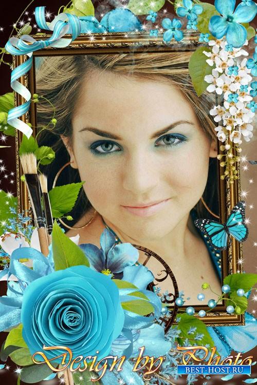 Рамка для фото - Голубое цветение