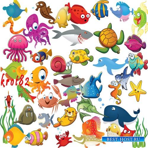 Нарисованный детский клипарт – Рыбы, акулы, осьминоги и другие морские обитатели